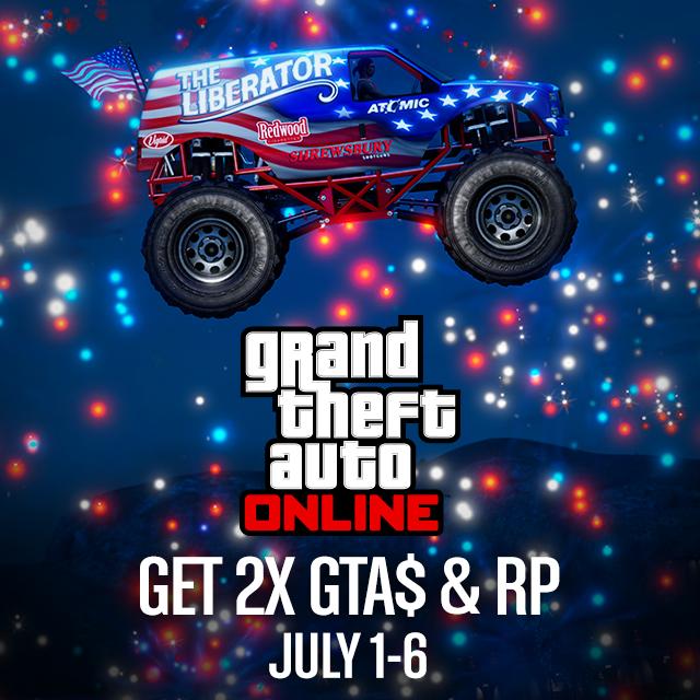 В два раза больше GTA$ и RP в GTA Online до уик-энда 4-го июля