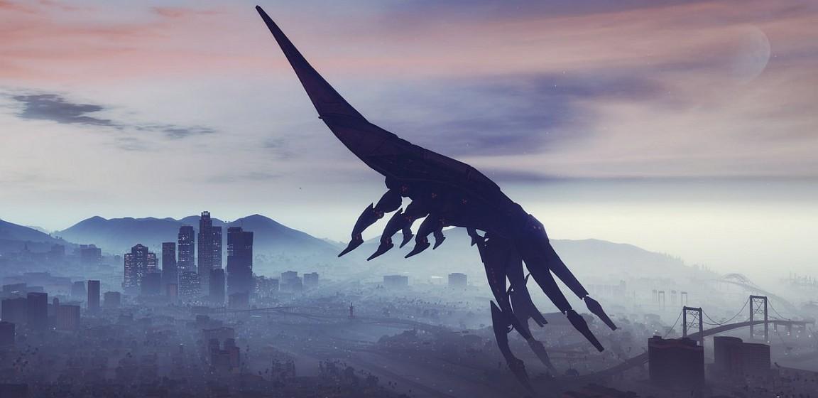 Мод для GTA 5 заменяет дирижабли кораблем Reaper из игры Mass Effect 3