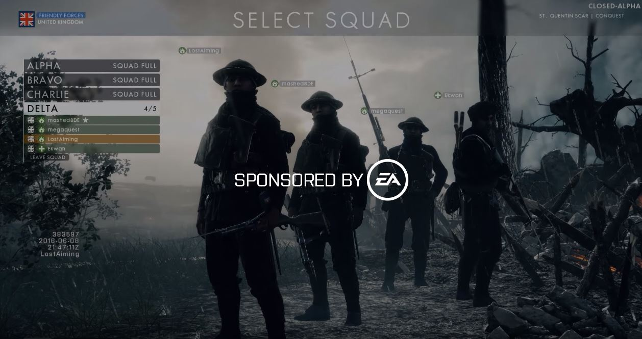 Battlefield 1 Squad Selection