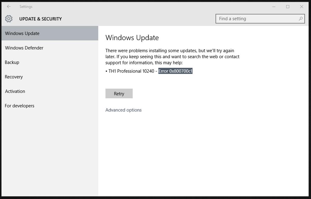Как исправить ошибку 0x800700c1 при обновлении до Windows 10?