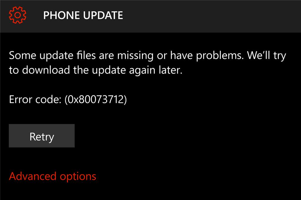 0x80073712 на Lumia 950