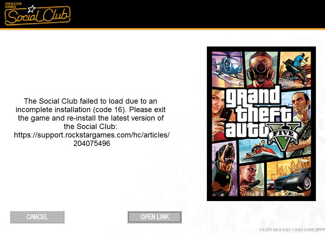 Код 16 при запуске GTA 5
