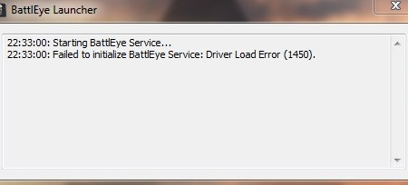Failed To Initialize Battleye Service Driver Load Error 1450