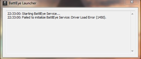 Failed to initialize BattlEye Service Driver Load Error (1450)