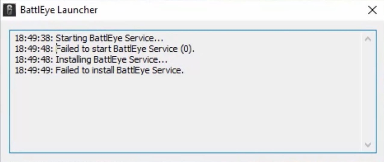 Failed to install BattlEye service