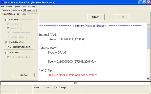 NAND Flash was not detected
