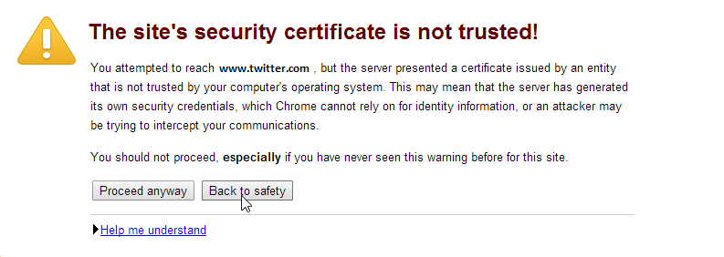 The site's security certificate is not trusted