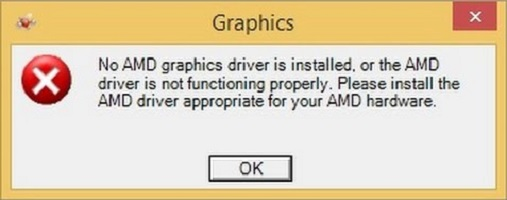 No AMD graphics driver is installed, or the amd driver is not function