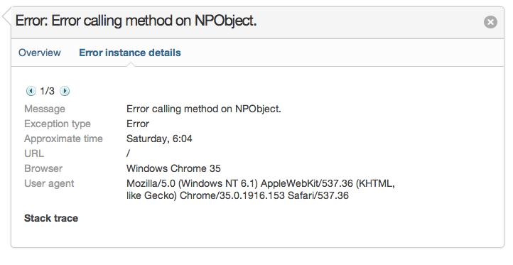 Error calling method on NPObject