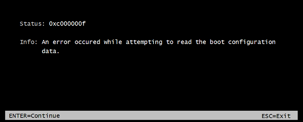 An error occurred while attempting to read the boot configuration data