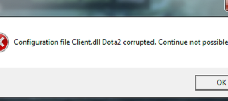 Configuration file Client.dll Dota2 corrupted. Continue not possible