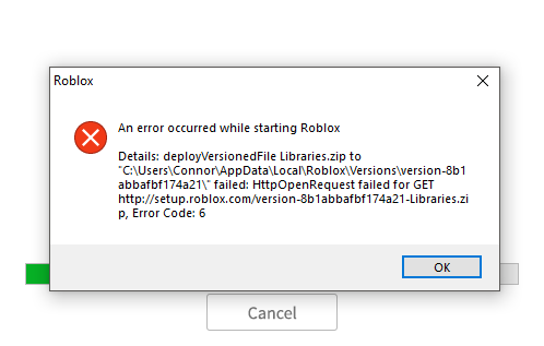 an error occurred while starting roblox