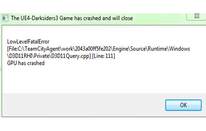 Ошибка LowLevelFatalError в игре DarkSiders 3