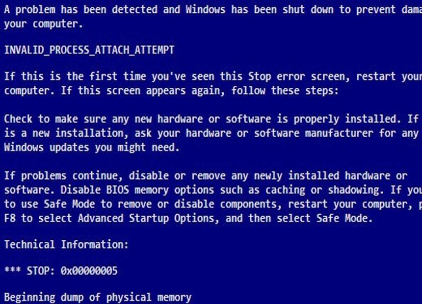 0x00000005 INVALID_PROCESS_ATTACH_ATTEMPT