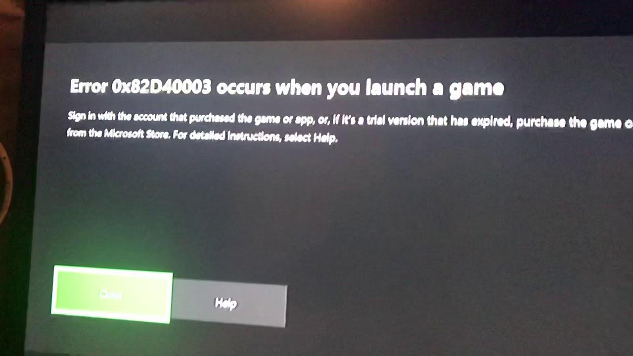 ошибка 0x82d40003 на Xbox One