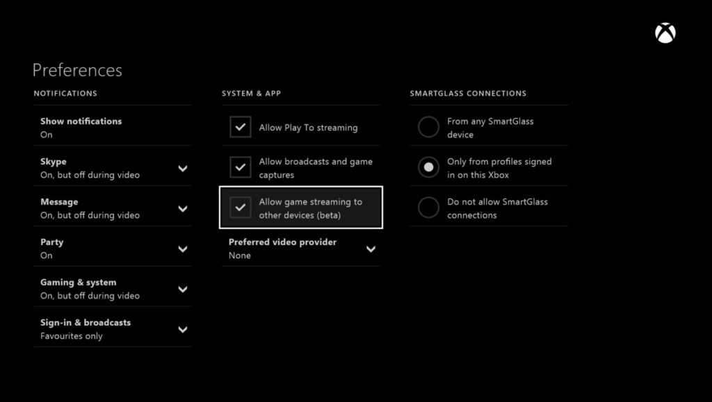 Allow streaming games to other devices