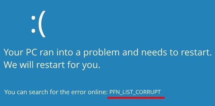 PFN LIST CORRUPT
